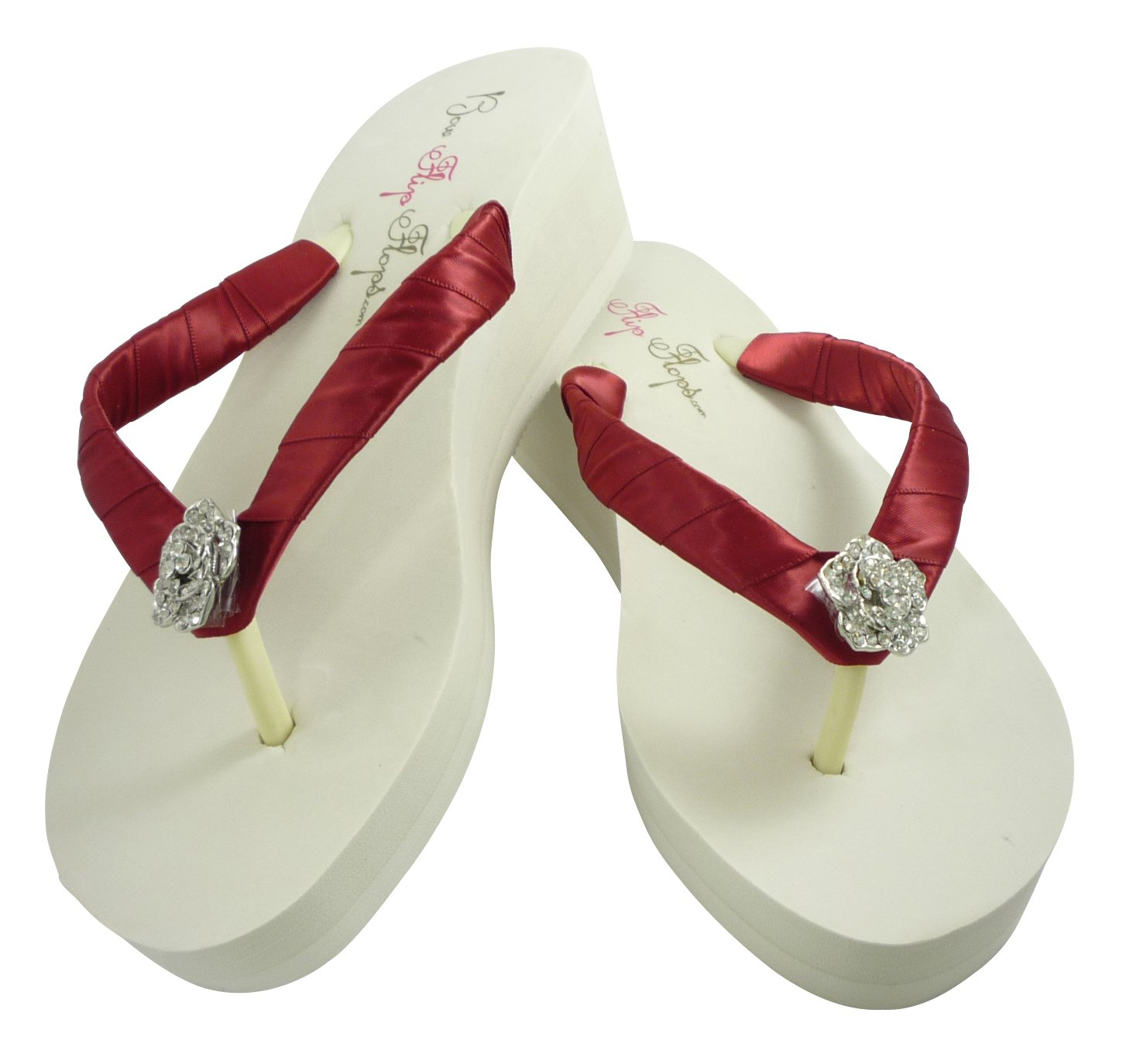 8d209d2728eed Amazon.com  Scarlet Red Rose Flip Flops - Bridal or Bridesmaid Sandals
