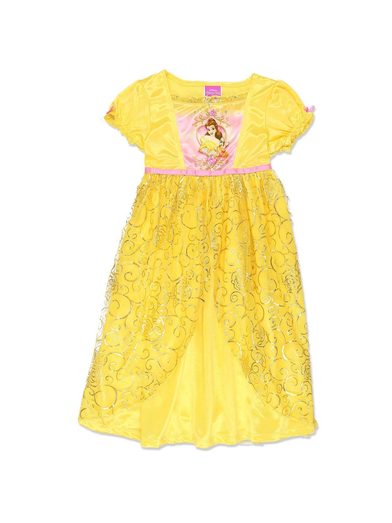 Disney Princess Belle Girls Fantasy Gown Nightgown (8, Yellow/Pink)