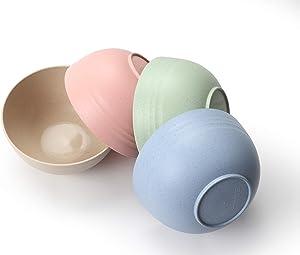 FLUX KITCHENWARE Unbreakable Cereal Bowls - Wheat Straw Fiber - Lightweight Bowl - Dishwasher Microwave Safe - BPA Free - Ideal for Cereal Salad Soup Noodle Rice Fruit Dessert (4 Pieces)