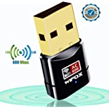 WIFOX USB Wifi Adapter - Dual Band 2.4G/5G USB Wireless Network Adapter with High Speed Mini Wi-Fi Dongle Adapter Compatible with Desktop/Laptop/PC Support Windows XP/7/8/8.1/10 Mac OS X 10.4-10.12