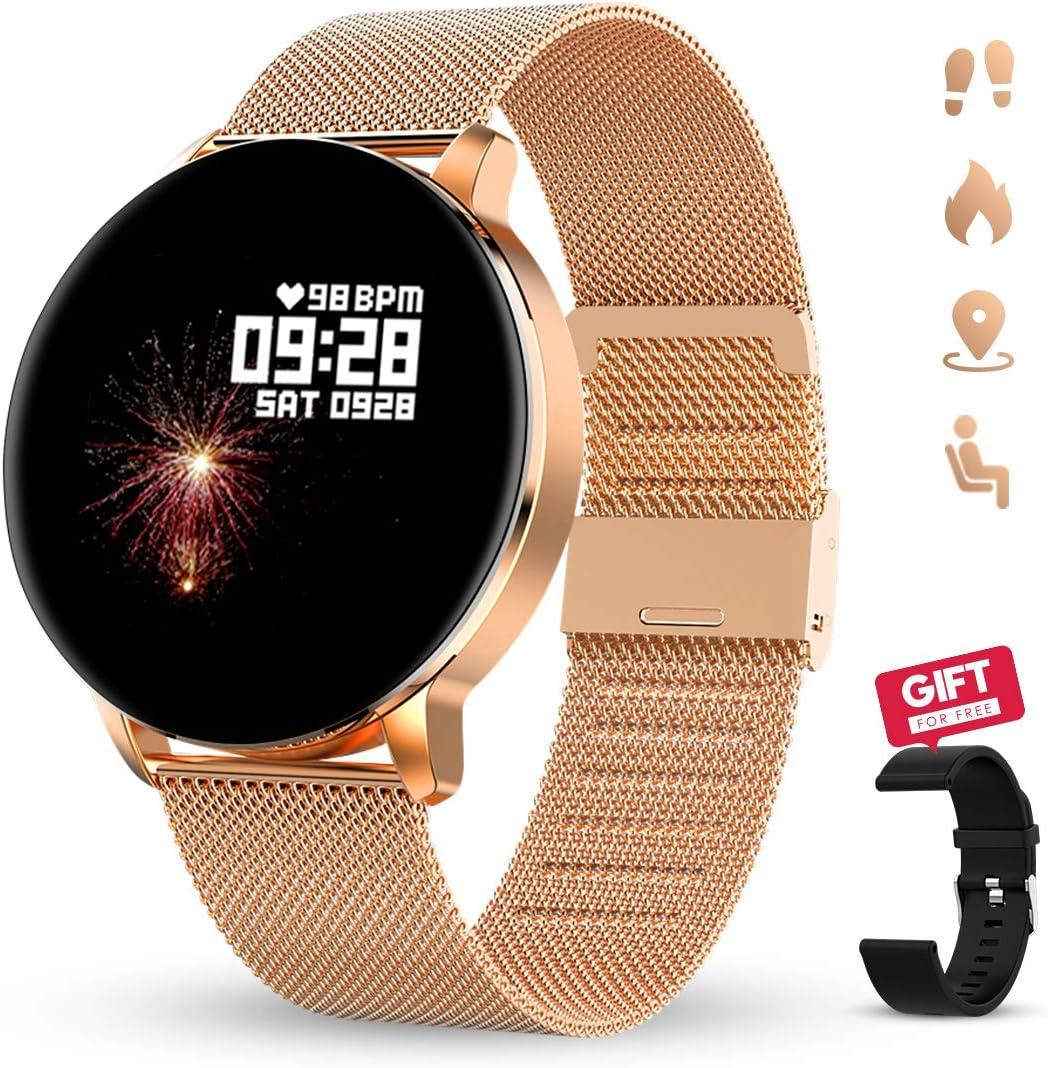 GOKOO Reloj Inteligente Hombres Mujeres Smartwatch Reloj 1.3 Pulgadas Pantalla Completa Táctil Reloj Deportivo IP67 Impermeable Compatible con Android iOS (Dorado)