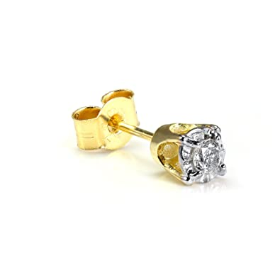 84ccf0b21 9ct Gold 0.05ct Diamond Square Mens Ear Stud Earring: Amazon.co.uk:  Jewellery