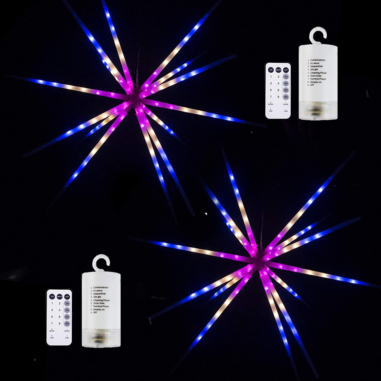 2Pack-Outdoor Hanging Firework Light Multicolor 112LEDs Starburst Lights Timer Setting Speed Changing Indoor 4xAA Battery Powered with Remote Controller for Wedding, Party Light Home Improvement