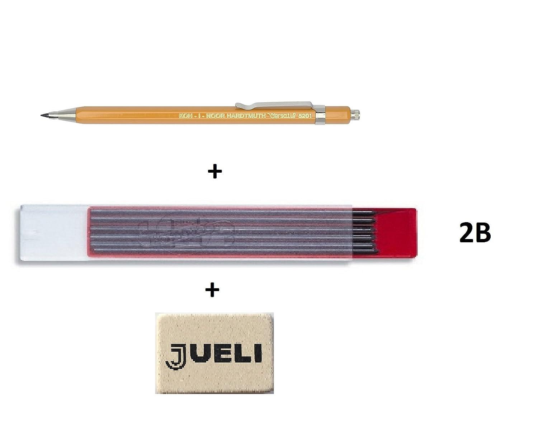 KOH-I-NOOR 5201 - Portamina 2 mm con temperino nel tappo + confezione da 12 mine KOH-I-NOOR 2 mm 2 B, pachetto convenienza