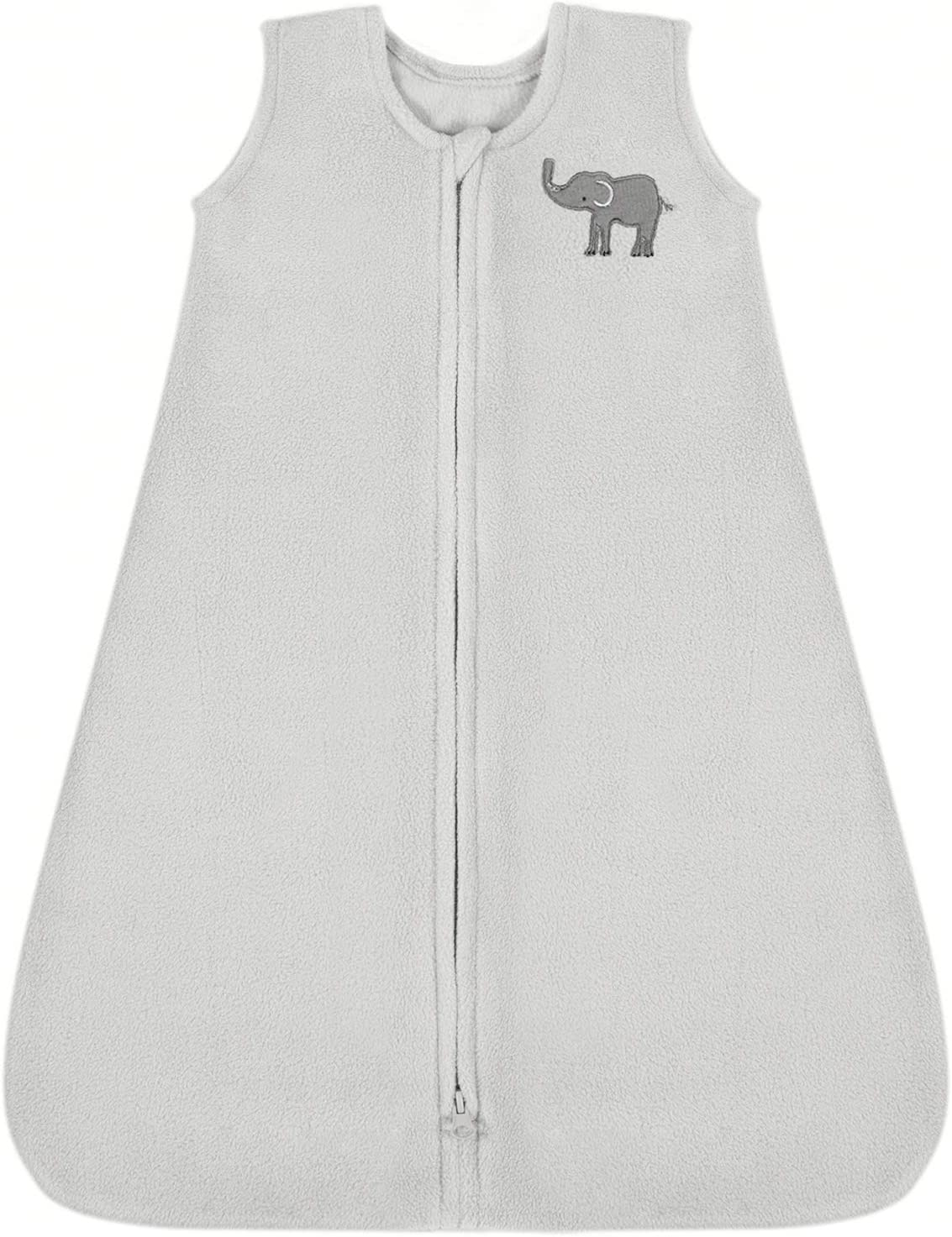 TILLYOU All Season Micro-Fleece Baby Sleep Bag and Sack with Inverted Zipper Medium M Fits Infants Babies Ages 6-12 Months Gray Elephant Sleeveless Warm Soft Wearable Blanket TOG 1