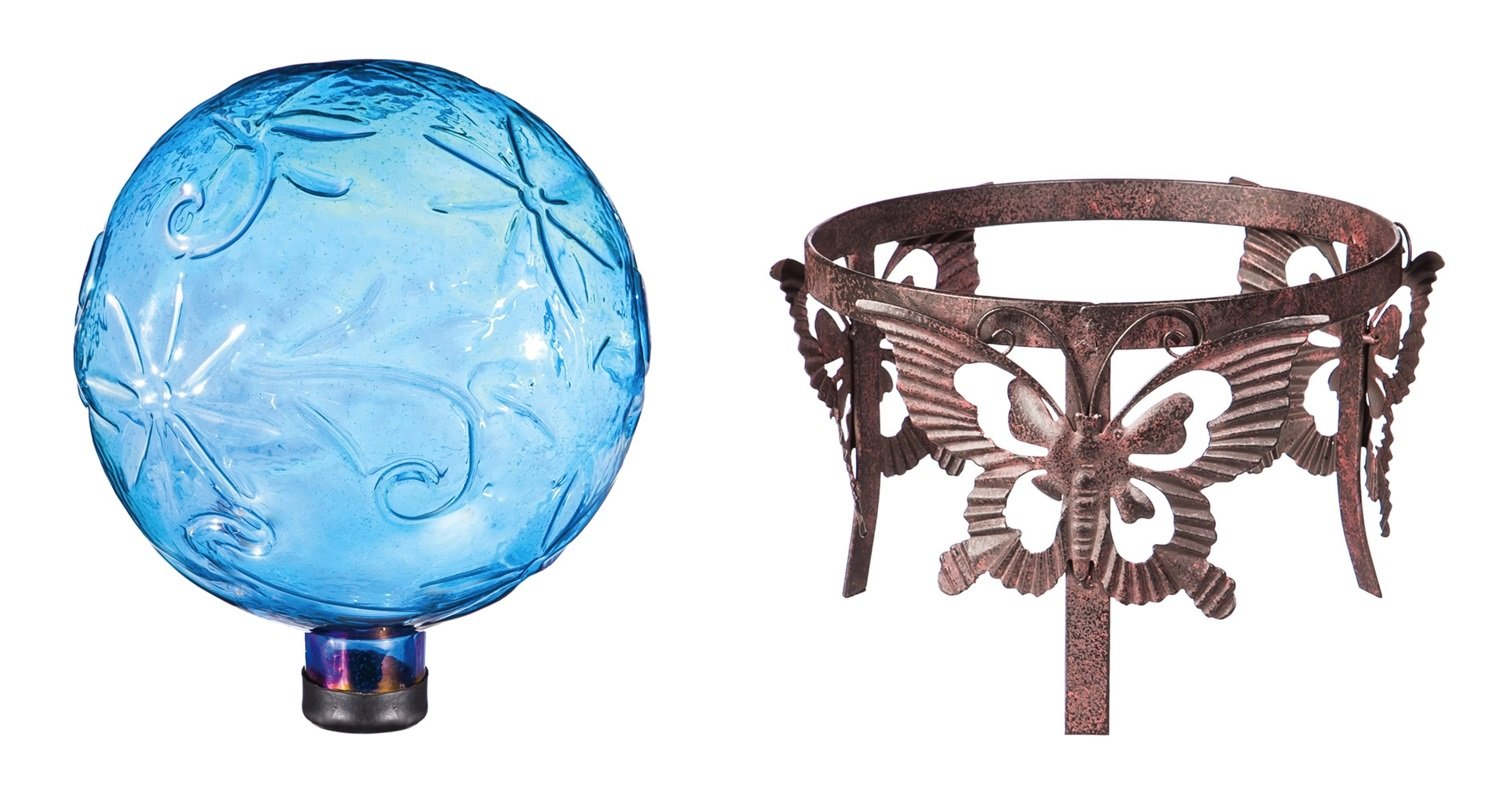 Evergreen Shimmering Blue Gazing Ball with Dragonfly Metal Stand