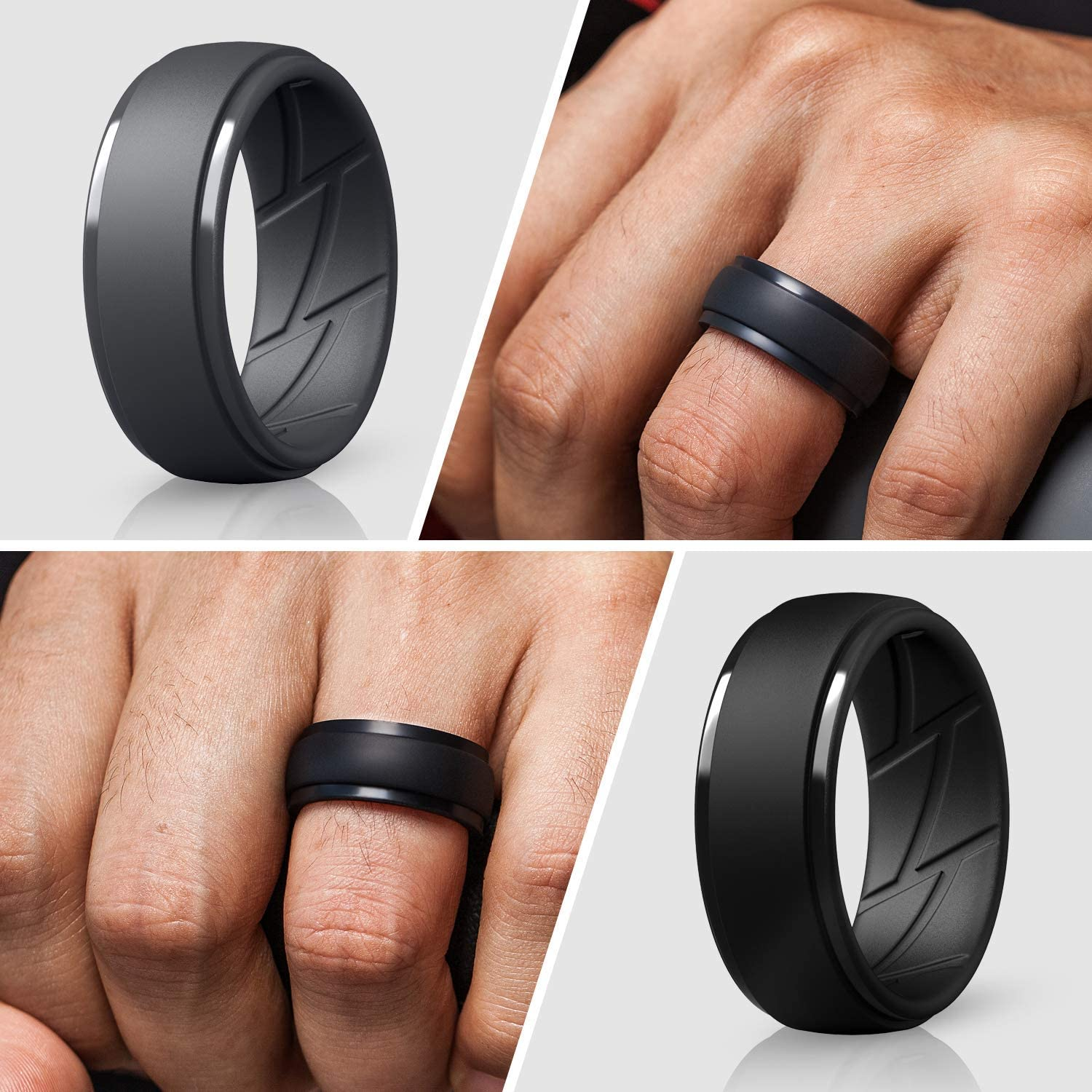 2.5mm Thick 10mm Wide Breathable with Air Flow Grooves ThunderFit Silicone Wedding Ring for Men