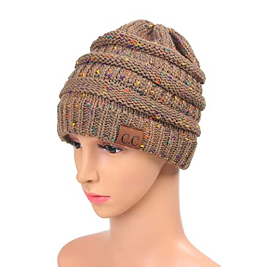 517e22f44 CC CC BeanieTail Soft Stretch Cable Knit Messy High Bun Ponytail Beanie Hat