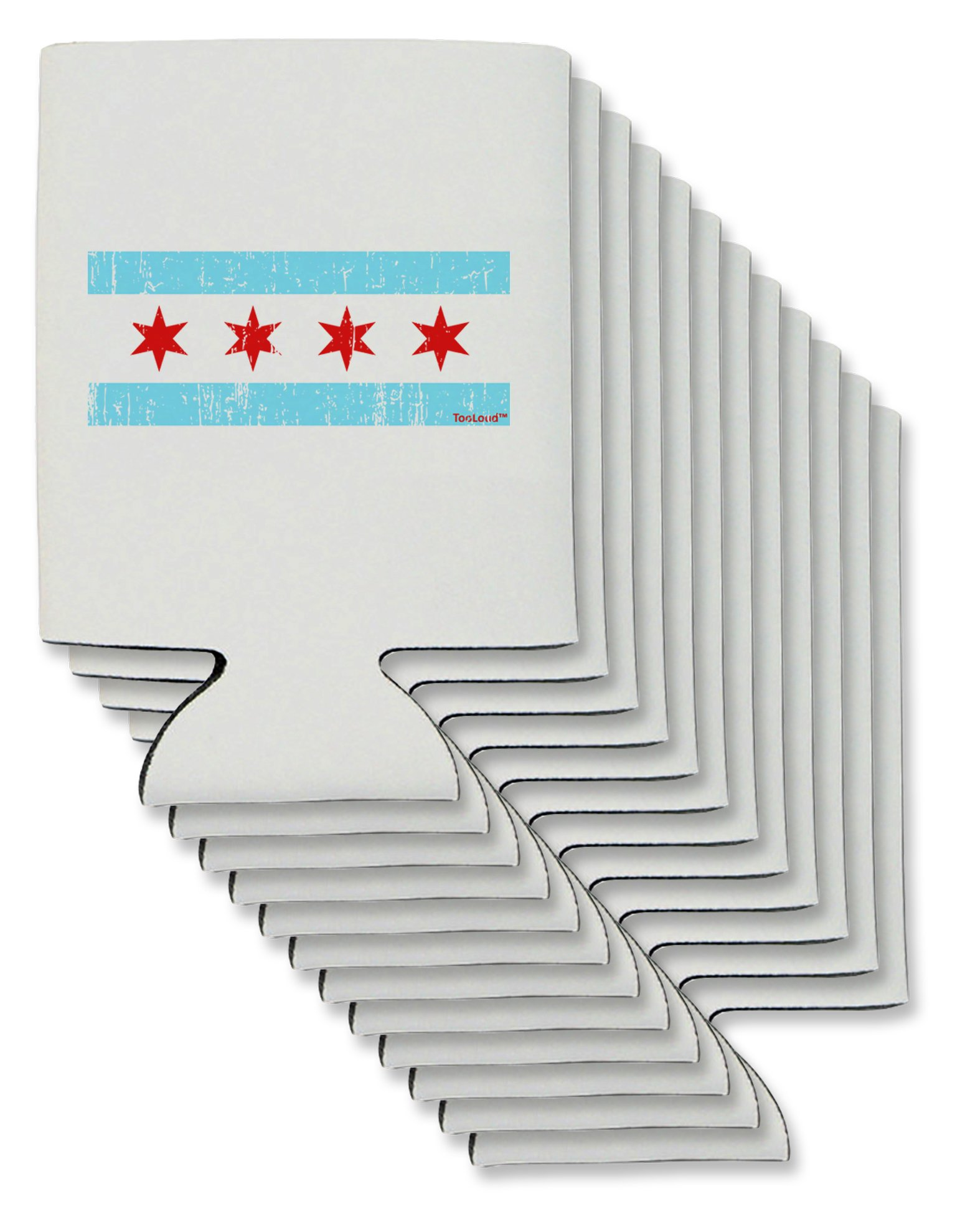 TooLoud Distressed Chicago Flag Design Can/Bottle Insulator Coolers - 12 Pieces