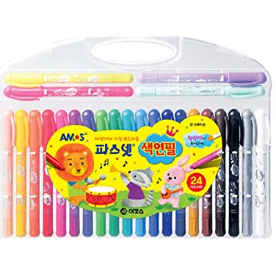 Amos Pasnet Twistable Soft Crayon Colored Pencils(24 Colors): Office Products