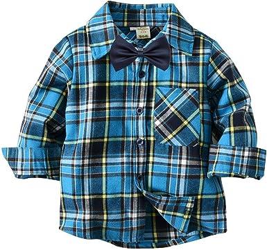 QTONGZHUANG Nueva Camisa de Cuadros de Algodón de los Niños Camisa de Manga Larga Camisa a Cuadros Niños Camisa de Punto Rebeca: Amazon.es: Ropa y accesorios