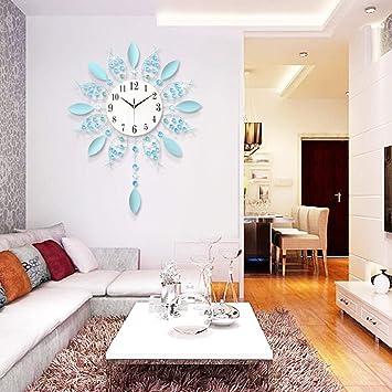 LKOPSLA Relojes de Pared Reloj de Pared Creativo de Arte Salón Color de Tendencias Relojes de Moda Campanas Decorativas Pintura Abstracta (Color : Negro, ...