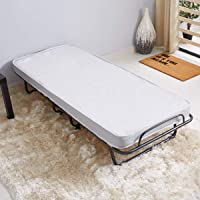 HOMEBOX Sandler Twin Folding Guest Bed with Mattress, Grey - 85L x 85W x 27H cm