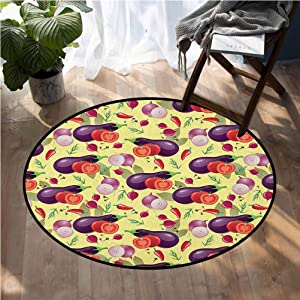 Eggplant Round Interior Modern Children's Rug Eggplant Tomato Relish Onion Going Green Eating Organic Tasty Preserve Nature 5ft Room Carpets Suitable for Children Bedroom Home