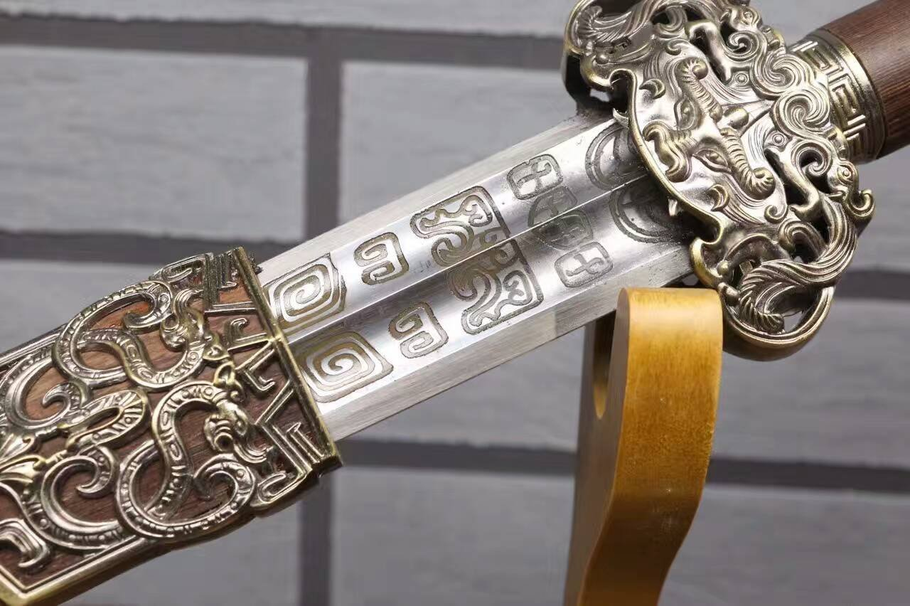 """Chinese Sword(Forged High Carbon Steel Etch Blade,Rosewood Scabbard,Alloy Fittings) Kung fu,Length 30"""""""