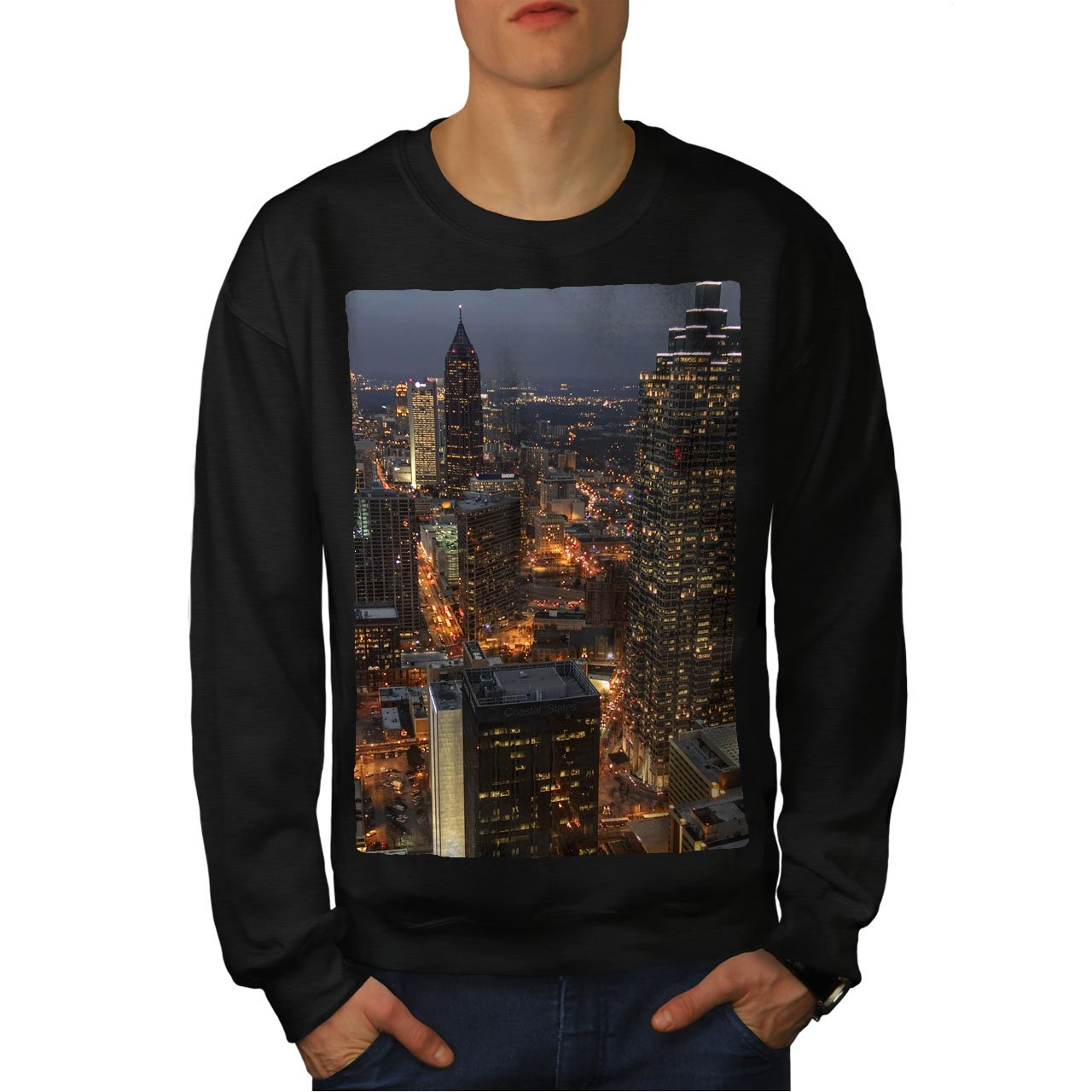 wellcoda Atlanta Skyline Dark Mens Sweatshirt Town Casual Jumper
