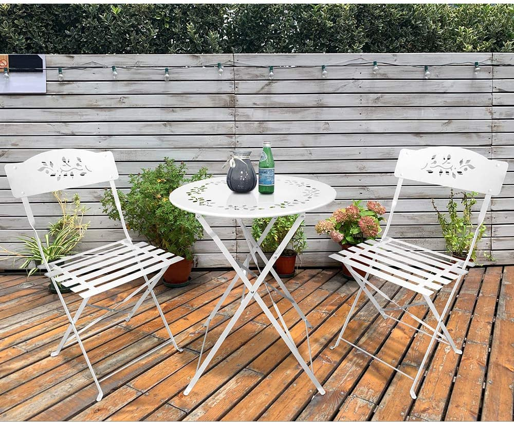 SUNSITT 3 Piece Patio Bistro Set Folding Outdoor Furniture Set Patio Table and Chairs Steel Frame – White