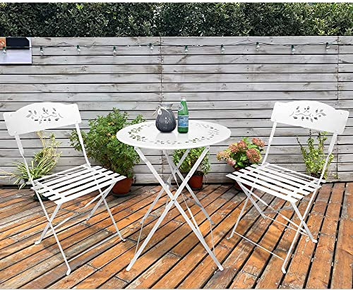 SUNSITT 3 Piece Patio Bistro Set Folding Outdoor Furniture Set Patio Table and Chairs Steel Frame