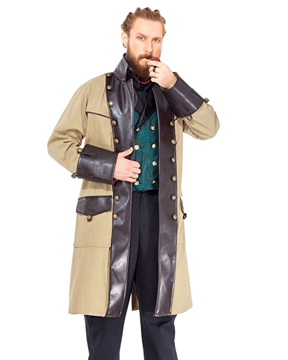 Steampunk Men's Coats Victorian Chrononaut Cream Coat Costume [C1406]  AT vintagedancer.com