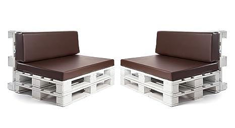 Conjunto colchonetas para sofas de palet y respaldos (2 x Unidades) Cojin relleno con espuma. Color Chocolate | Cojines para chill out, interior y ...
