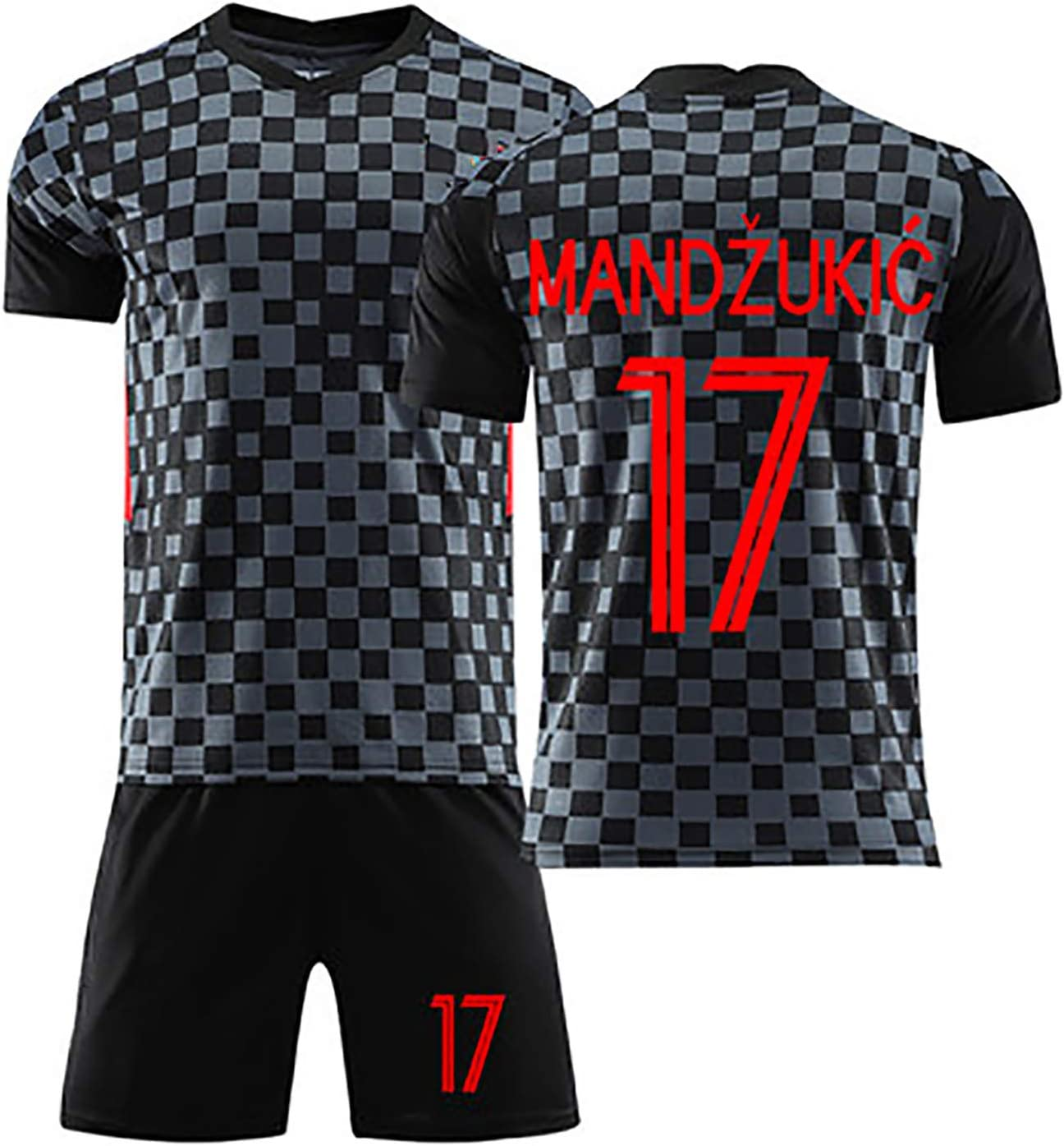 for Modric 10 Rakitic 7 Perisic 4 Kramaric 9 Mandzukic 17 2020 Away Summer Football Uniform Set,Can Be Washed Repeatedly NO.17-XL Mens Football Jersey