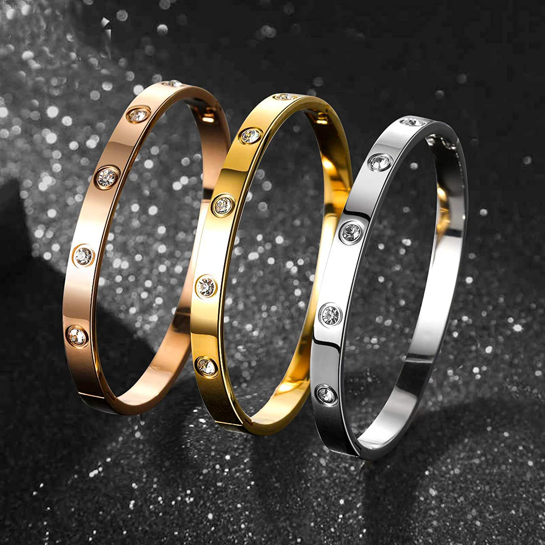 PDWZNBA Love Friendship Bracelet Bangle Gold Silver Rose Cubic Zirconia Stainless Steel Jewelry Oval Double Heart Crystal Bracelet Gifts for Women Girls