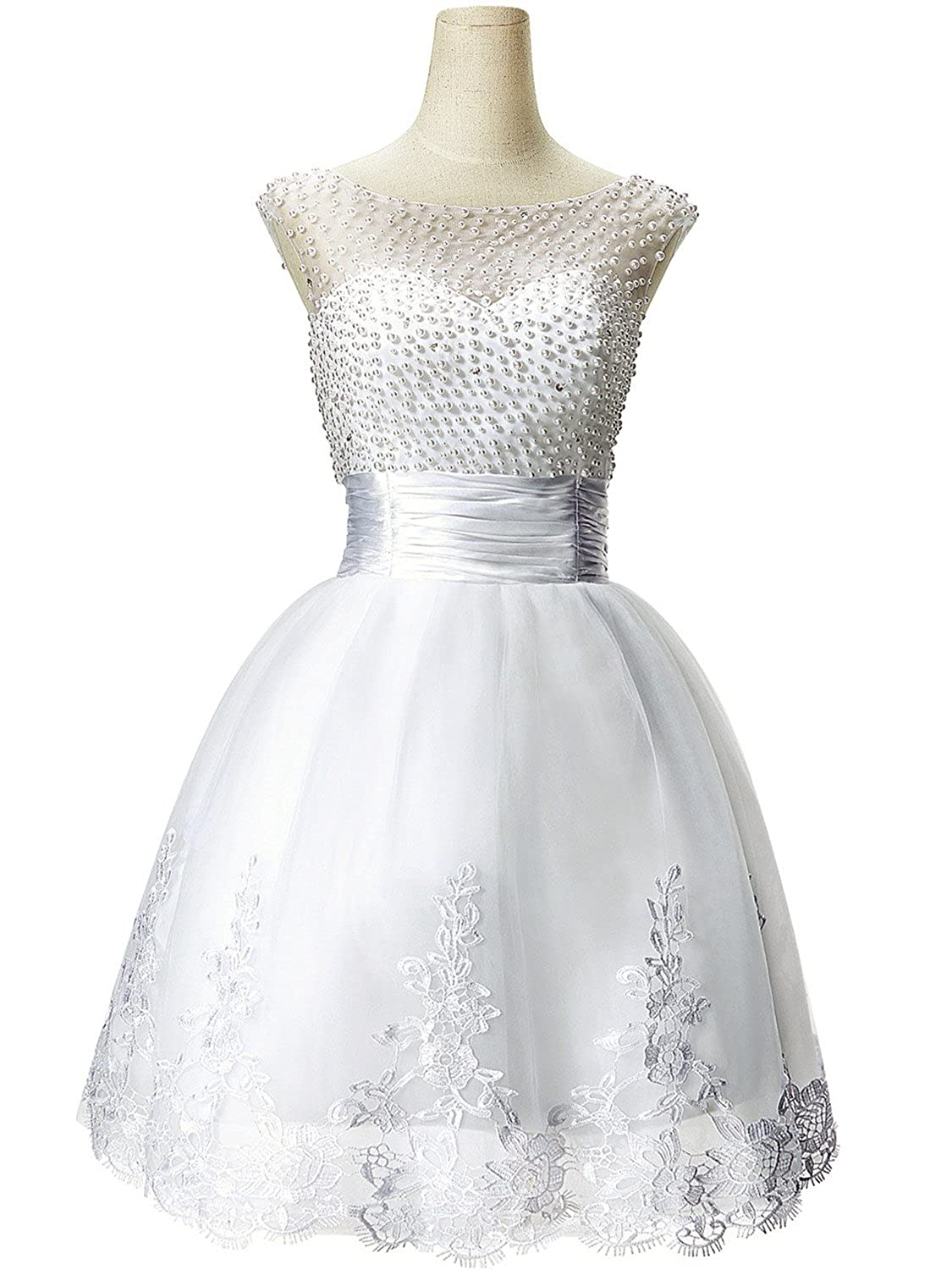 5d4426fba007 Babyonline Sleeveless Beaded Short Prom Dress 2015 Cute White Party Dress  CPS068 at Amazon Women s Clothing store