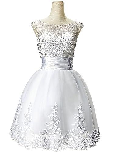 Babyonline Sleeveless Beaded Short Prom Dress 2015 Cute White Party Dress CPS068