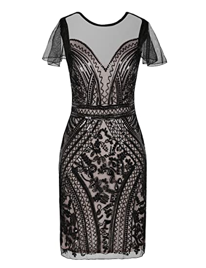 Kayamiya Womens Flapper Dresses Sequins Art Deco Cocktail Gatsby