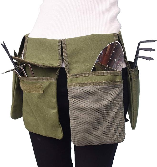 Blusea Garden Tool Belt, Canvas Waist Apron with Pockets, Hanging Pouch Tote Bag, Home Organizer Gardening Kit Holder Lawn Yard Storage Bag Carrier