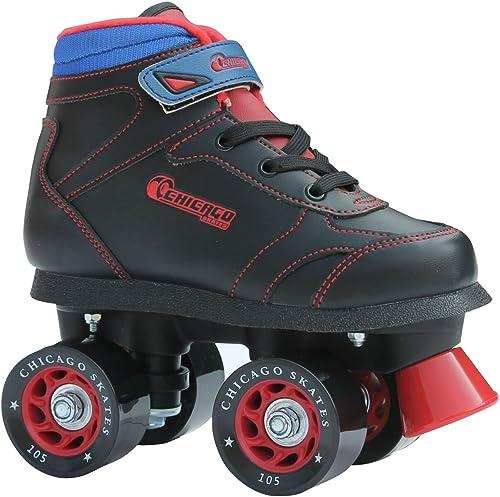 Chicago Boys Sidewalk Roller Skate black with red and blue
