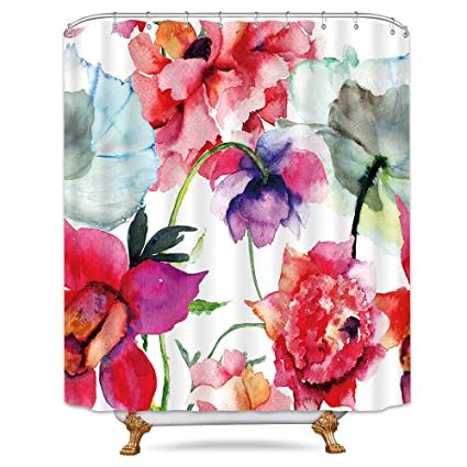 Watercolor Floral Shower Curtain Weighted Hem Colorful Flower Peony Red White Decor Fabric Panel Bathroom Set
