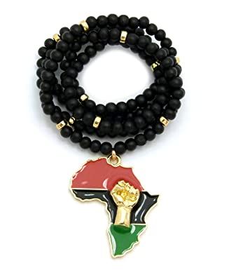 Amazon fist power in pan african colored africa map pendant fist power in pan african colored africa map pendant 6mm 30quot wooden bead necklace in aloadofball Image collections