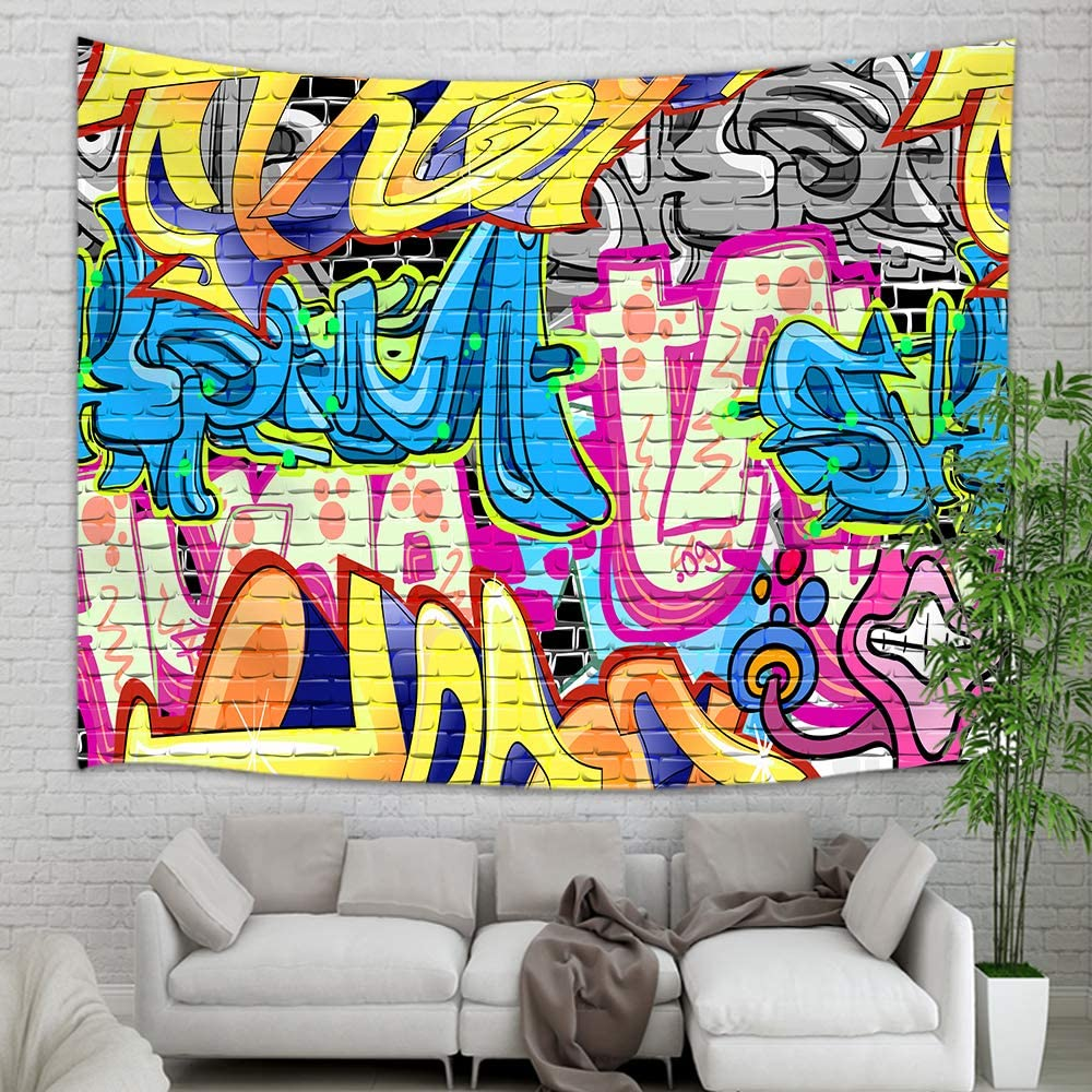 NYMB Creative Street Graffiti Tapestry, Rustic Graffiti on Wall Urban Street with Spray Hip Hop Art Tapestry Wall Hanging, Psychedelic Wall Blanket for Bedroom Living Room Dorm Home Decor, 71X60 in