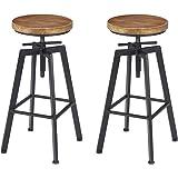 Vilavita Set of 2 Adjustable Round Pine Wood Barstools, Retro Finish Wooden Seat with Wrought Iron Frame Bar Chairs Swivel Bar Stools