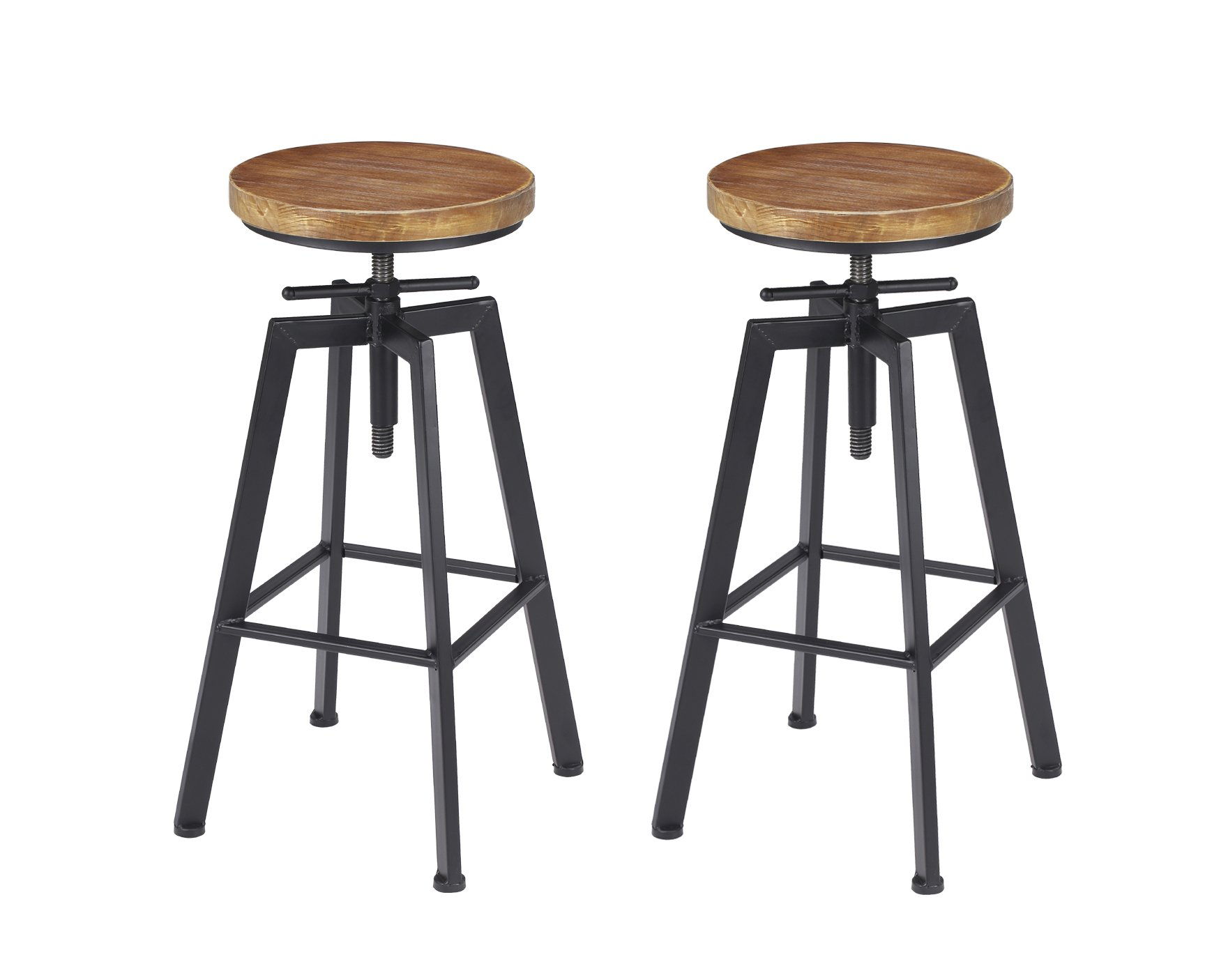 VILAVITA Set of 2 24.8'' to 28.8'' Adjustable Round Pine Wood Barstools, Retro Finish Wooden Seat with Wrought Iron Frame Bar Chairs Swivel Bar Stools