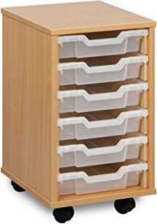 Monarch Mobile School Shallow Tray Storage Unit 6 Clear Trays Beech MEQ1W-CLEAR & 16 Tray A3 Paper Art Storage Unit: Amazon.co.uk: Office Products