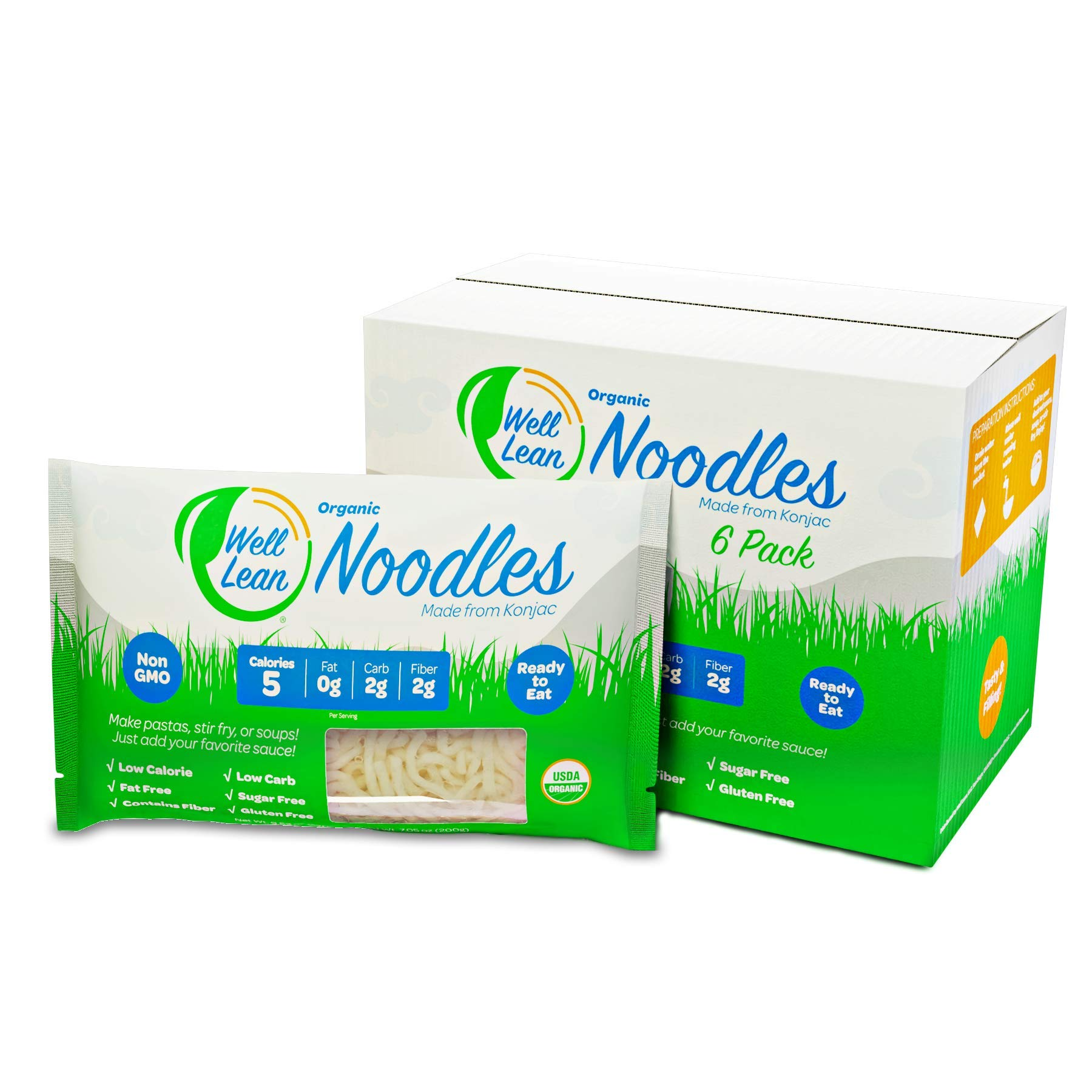 Organic Well Lean Noodles, Premium Shirataki Konjac Pasta, Non Gmo and Ready to Eat, Low Calorie and Low Carb
