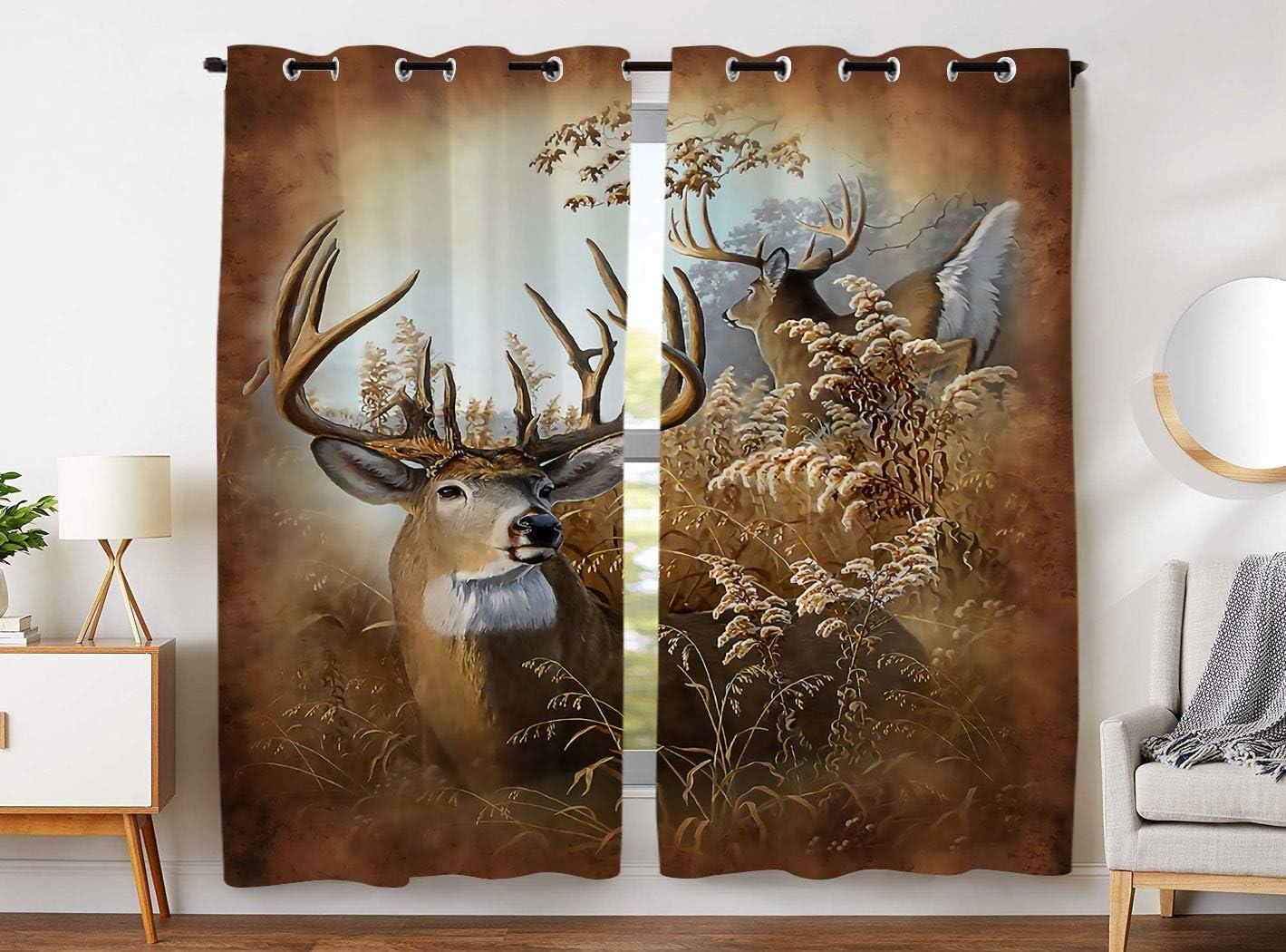 SXCHEN W54 x L84 Inch Blackout Curtains 2 Panels Grommet Curtains Retro Oil Painting Deer Darkening
