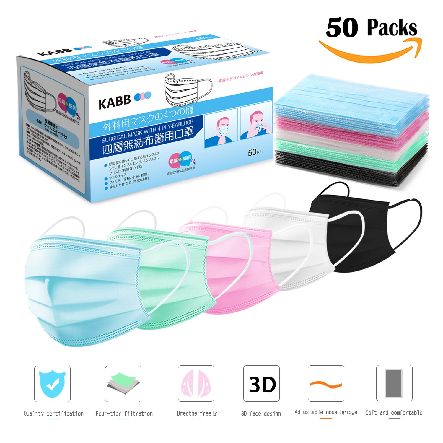 Disposable face mask, KABB Earloop Face Masks, 4 Ply Thicker Medical Grade Surgical Mask, Premium Individually Wrapped Procedure Face Mask for Surgical, Allergy, Flu Germs, Dust 50 Pcs (Rainbow Color)