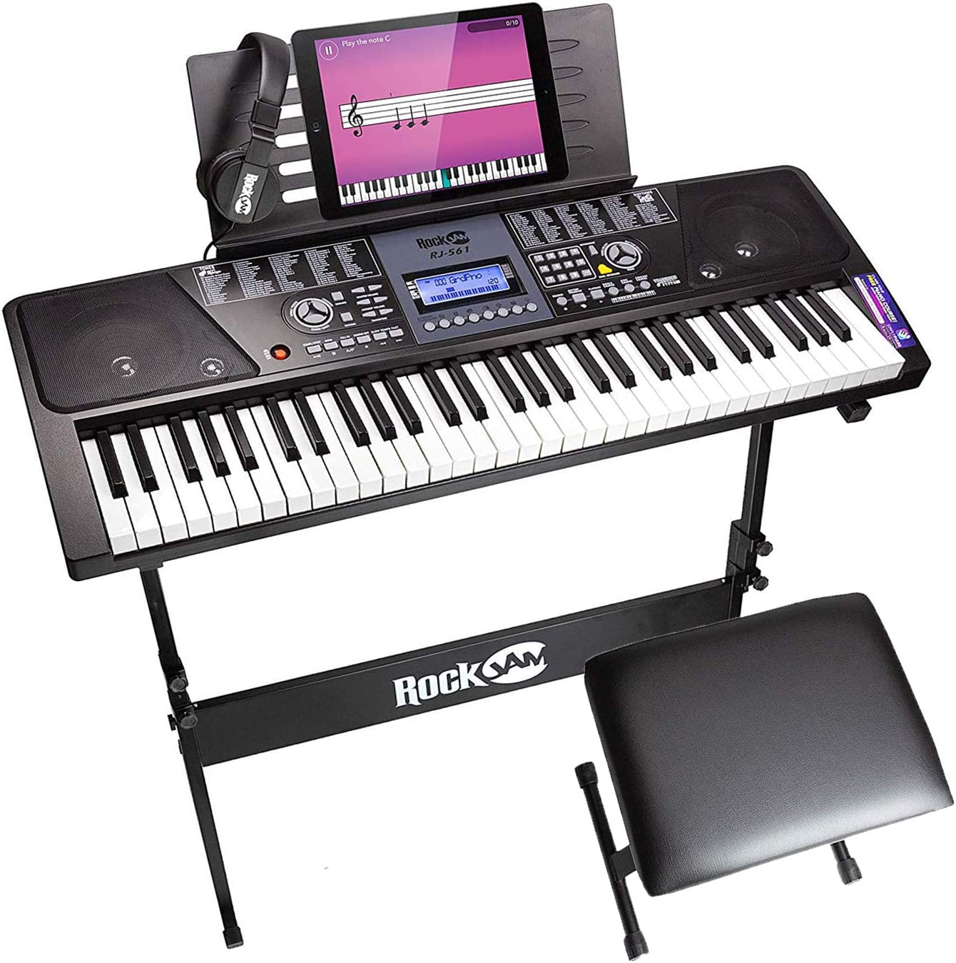 Rockjam 61-Key Electronic Keyboard Piano Superkit With Stand, Stool, Headphones