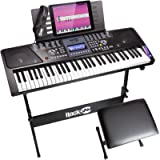 RockJam 561 Electronic 61 Key Digital Piano Keyboard SuperKit with Stand, Stool, Headphones, & Includes Piano Maestro…