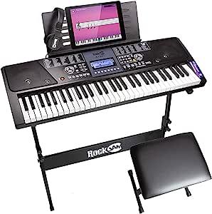RockJam 61 Key Keyboard Piano With LCD Display Kit, Keyboard Stand, Piano Bench, Headphones, Simply Piano App & Keynote Stickers