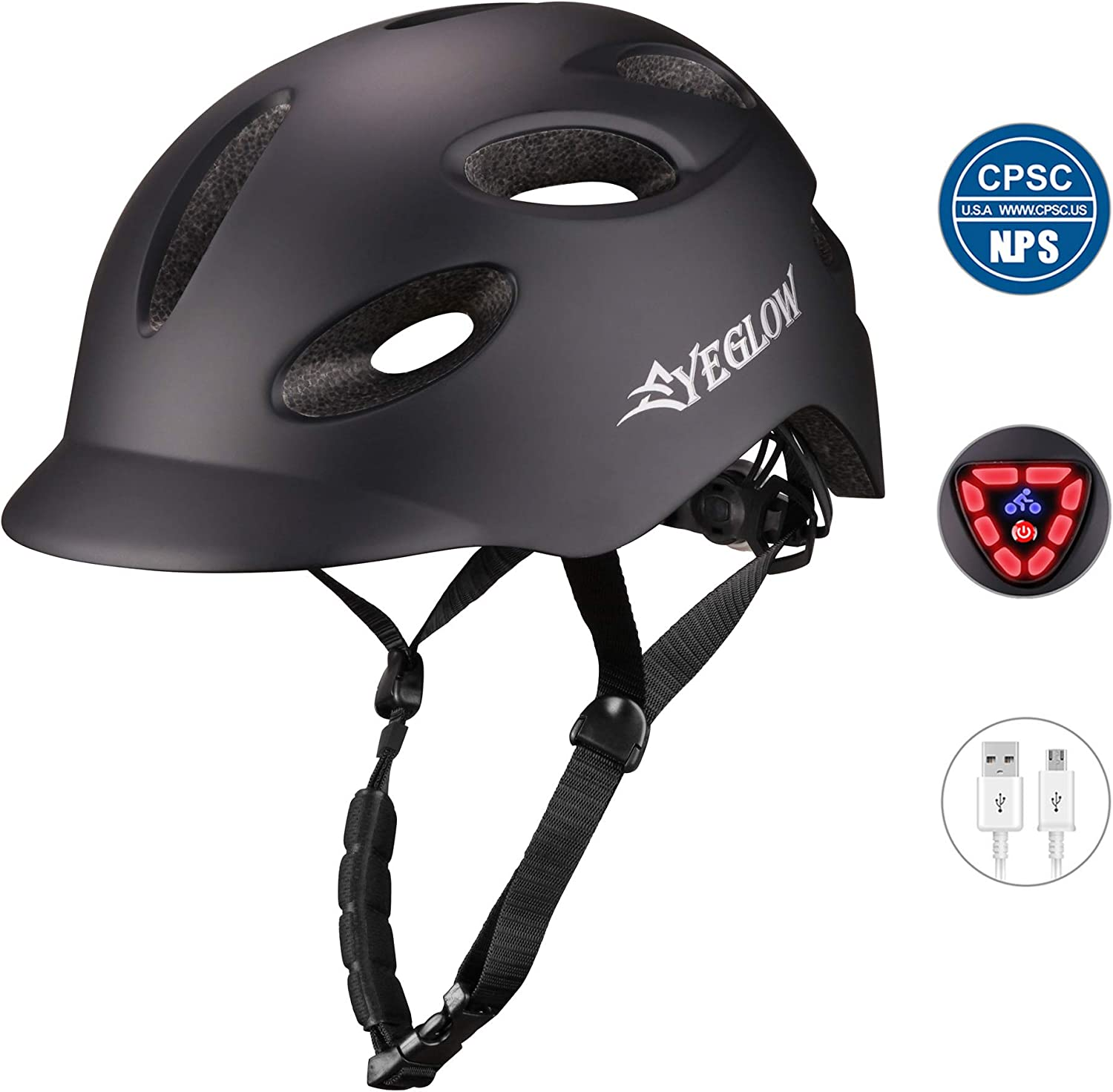 EyeGlow Adult Bike Helmet with Rechargeable USB Safety Light for Urban Commuter CPSC Certified