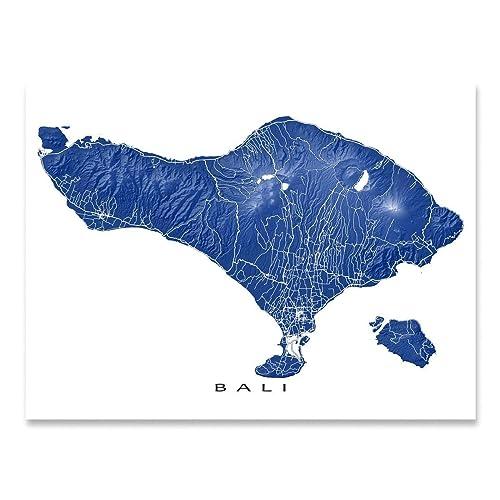 Amazon Com Bali Map Print Indonesia Island Art Southeast Asia