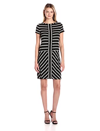 8ca068fe2670 Calvin Klein Women s Short-Sleeve Striped T-Shirt Dress at Amazon ...
