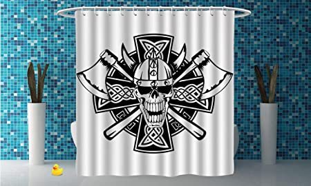 IPrint Stylish Shower Curtain CelticCeltic Skull Knight With Cross Axes And Knives Medieval