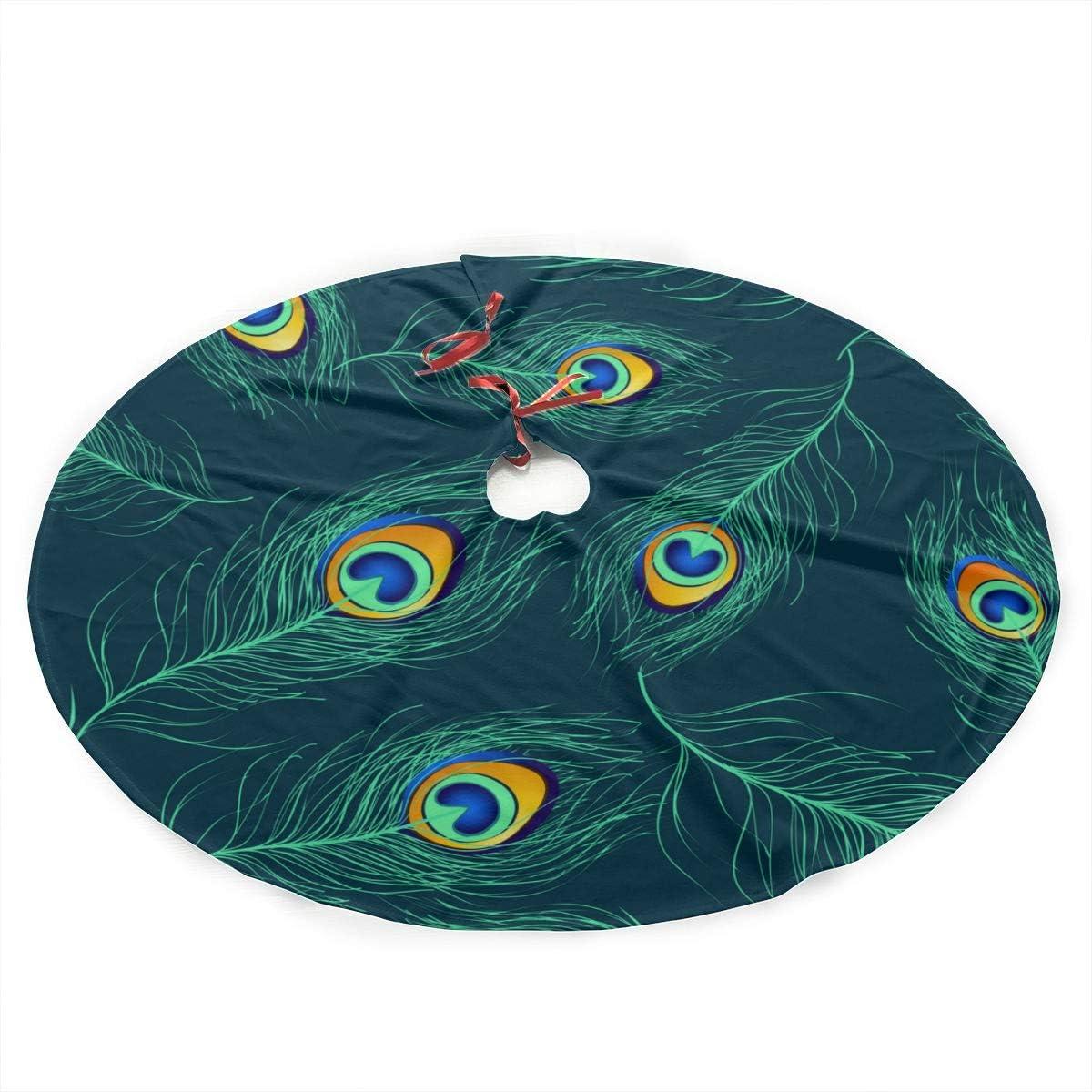 ZHANGhome Falda de árbol de Navidad Hermoso pájaro Pluma de Pavo ...