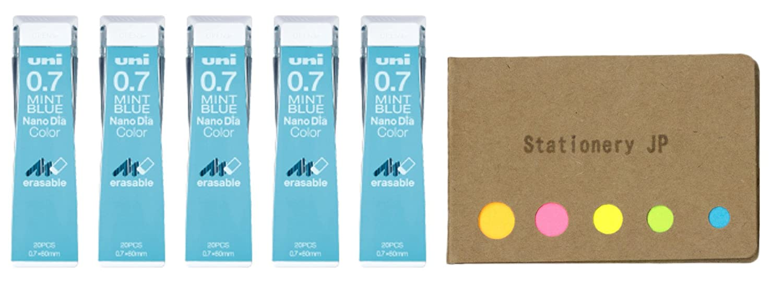 Uni NanoDia Color Mechanical Pencil Leads, 0.7mm, Mint Blue, 5-Pack/total 100 Leads, Sticky Notes Value Set Stationery JP