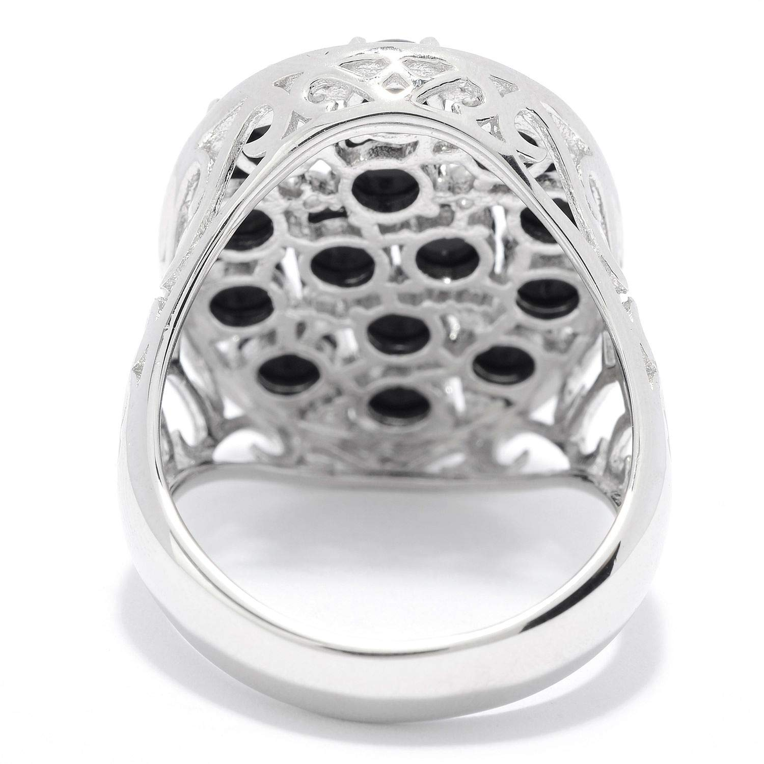 Pinctore Sterling Silver Black Onyx /& White Topaz Oval Shaped Ring